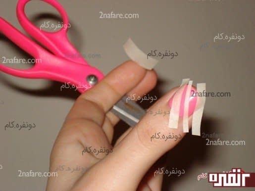 استفاده از نوار چسب برای طرح لاک زدن