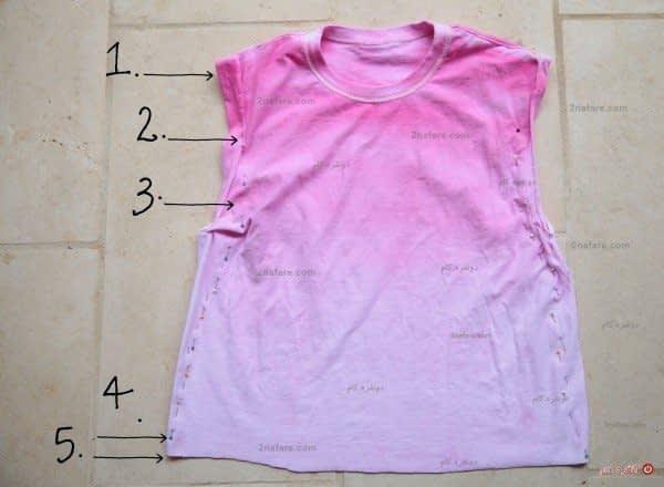 تغییرات ساده روی تی شرت برای تبدیل به پیرهن دخترانه