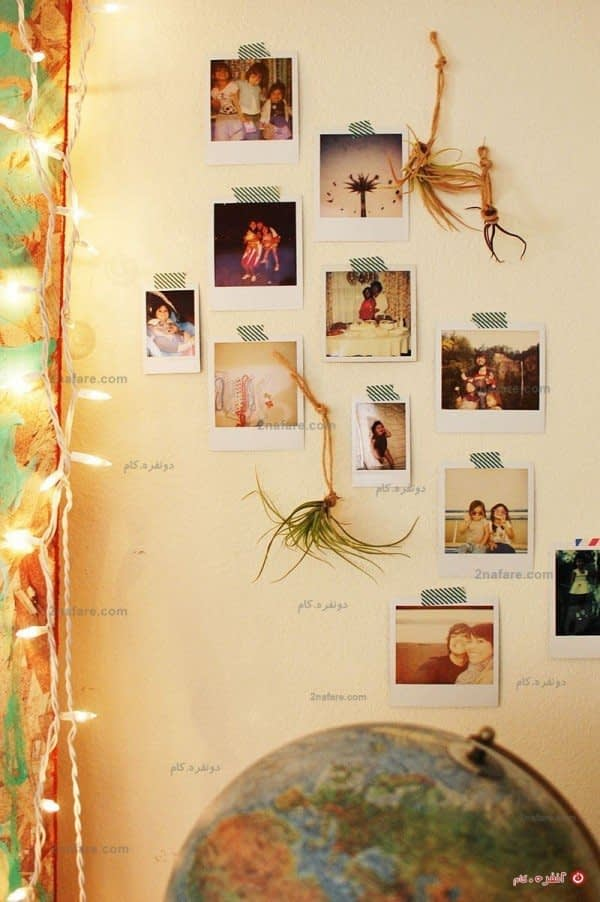 حرکتی دکوری و خلاق با عکس های یادگاری و گیاهان سبز