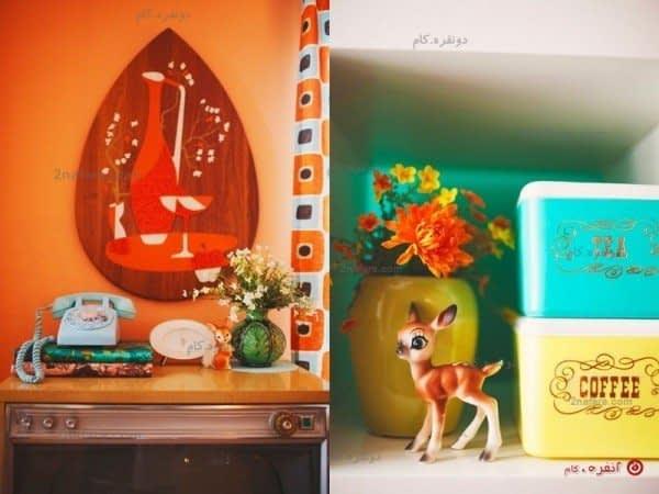 دکور آشپزخانه با تم نارنجی رنگ
