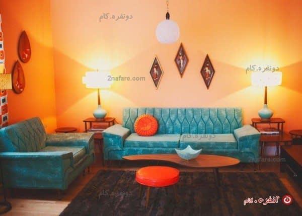 سالن پذیرائی با ترکیب فوق العاده ی نارنجی و فیروزه ای