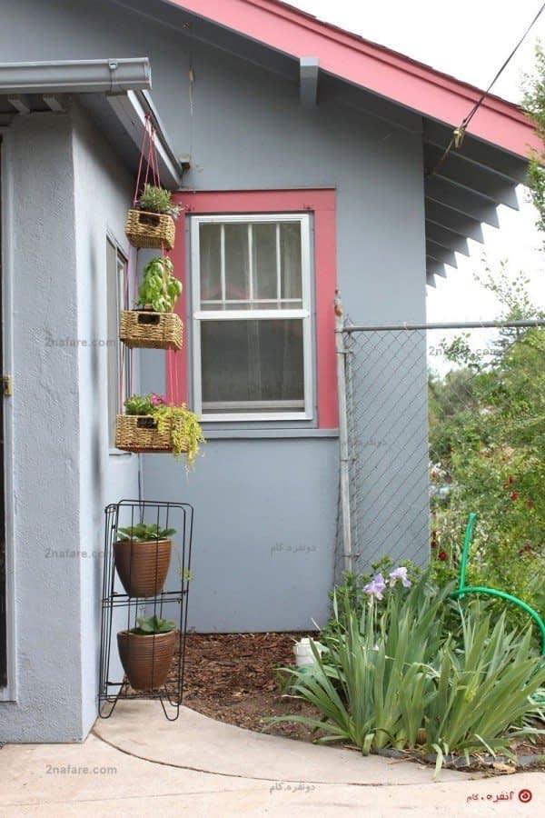 سبد گل آویز برای حیاط منزل