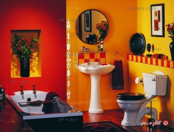 سرویس حمام عتیقه با ترکیب تِم نارنجی و کاشی