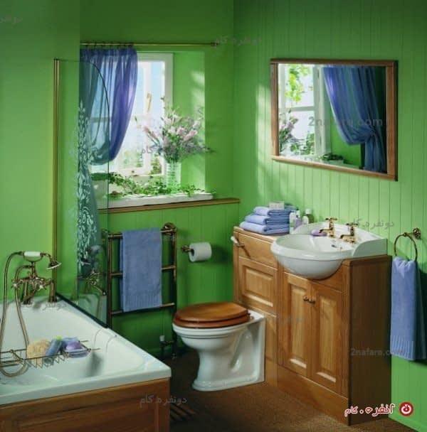 سرویس حمام عتیقه با ترکیب رنگ سبز و چوب