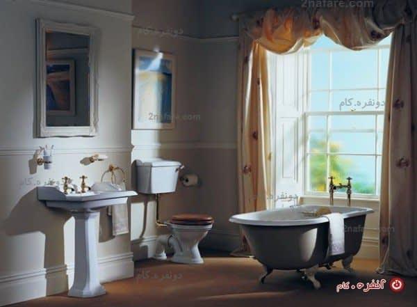 سرویس حمام عتیقه با تم رنگ سفید
