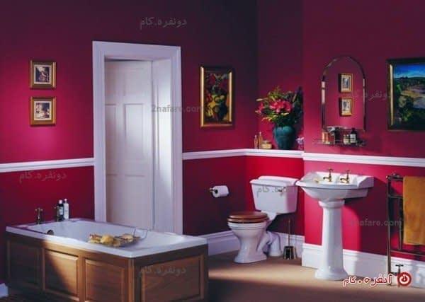 سرویس حمام عتیقه با تم رنگ قرمز و صورتی مژنتا