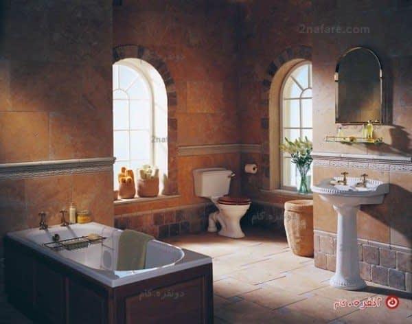سرویس حمام عتیقه با تم رومی و ترکیب رنگ کرمی