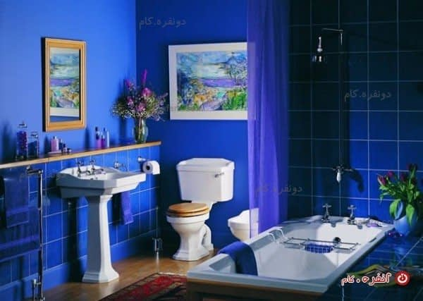 سرویس حمام عتیقه کاشی کاری شده با ترکیب رنگ لاجوردی