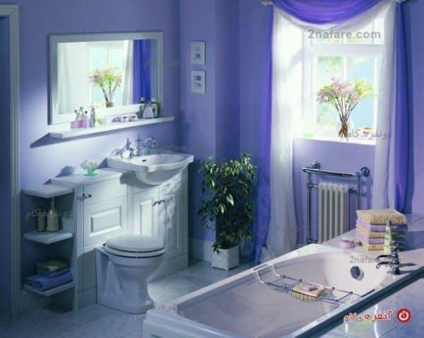 سرویس حمام کلاسیک با ترکیب رنگ ارغوانی