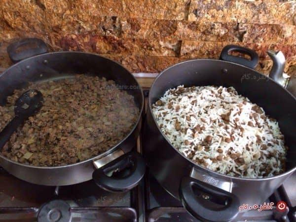 طرز تهیه خوراک گوشت برای عدس پلو
