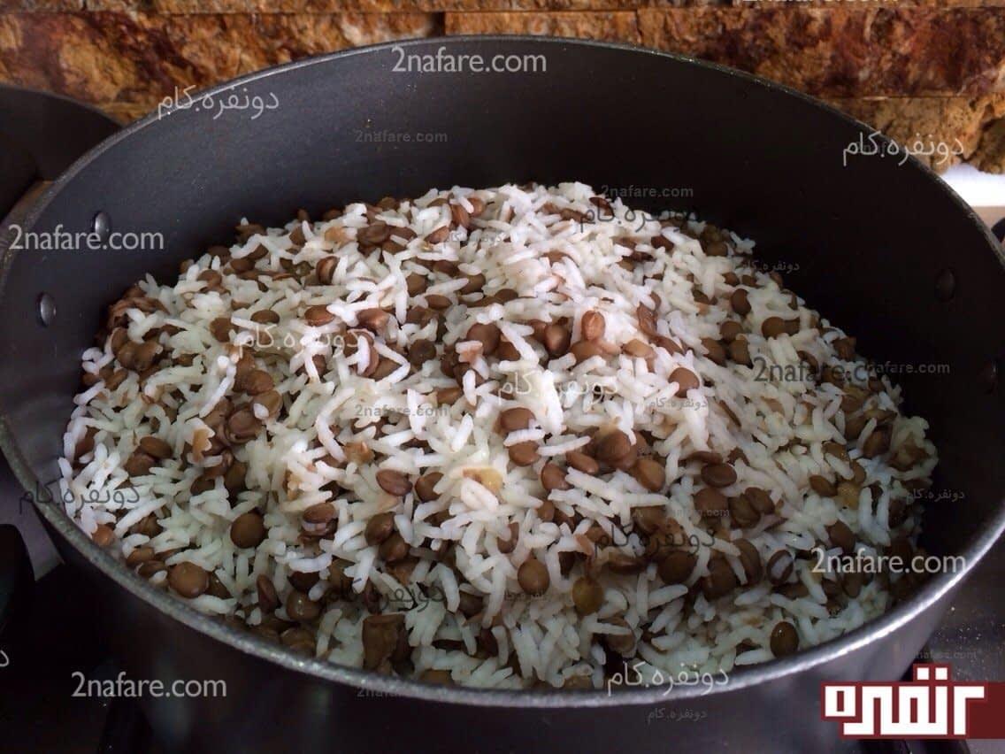 طرز پخت برنج عدس