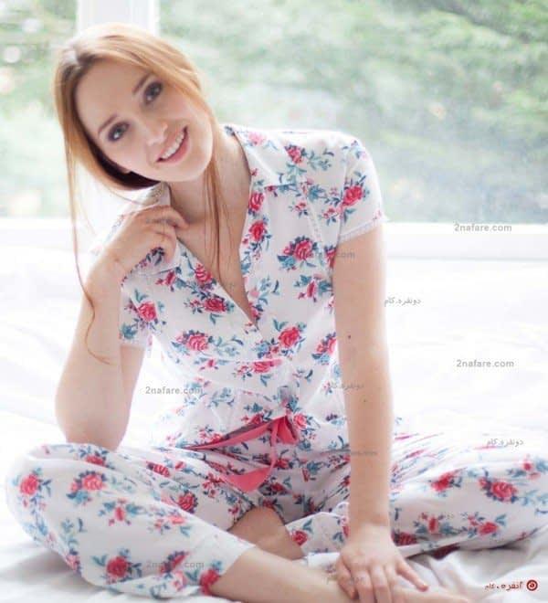 لباس خواب سفید گلدار آستین کوتاه