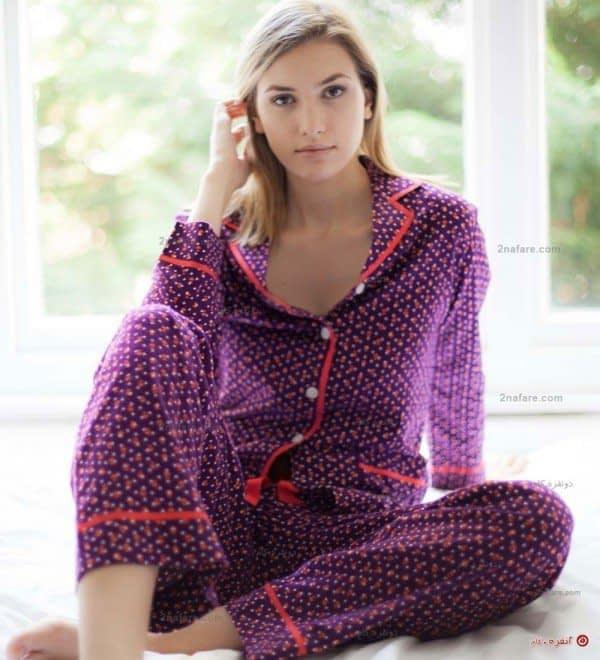 لباس خواب سوزان با رنگ بنفش خال خالی