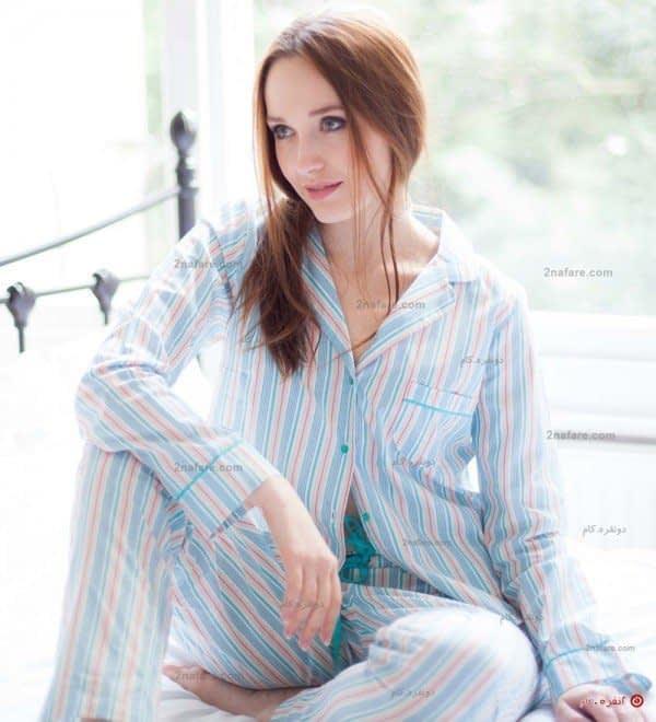 لباس خواب مدل شارلوت با طرح راه راه آبی