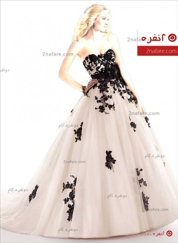 لباس عروس پفی دانتل رنگی