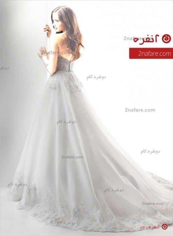 لباس عروس پفی دکلته