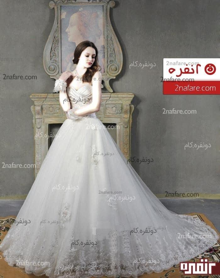 لباس عروس پفی دکلت