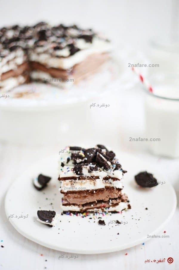کیک بستنی دسری مفرح و آسان