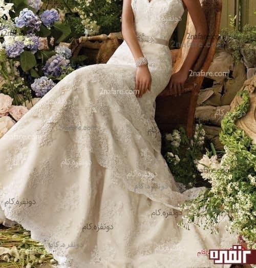 لباس عروس آناهید بالاتنه با برش ماهی به رنگ نباتی