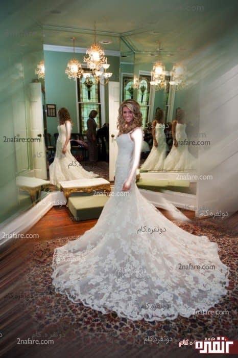 لباس عروس مدل دیبا با برش ماهی و دامن تور