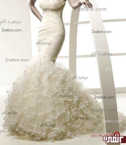لباس عروس مدل میخک بالاتنه برش ماهی و دامن و دکلته ی پفدار به رنگ نباتی