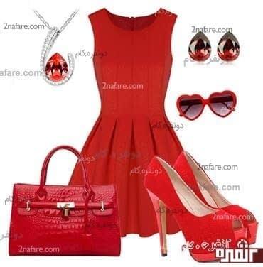 پیراهن قرمز و ست کیف و کفش هم رنگ - مجموعه ای شیک و زیبا
