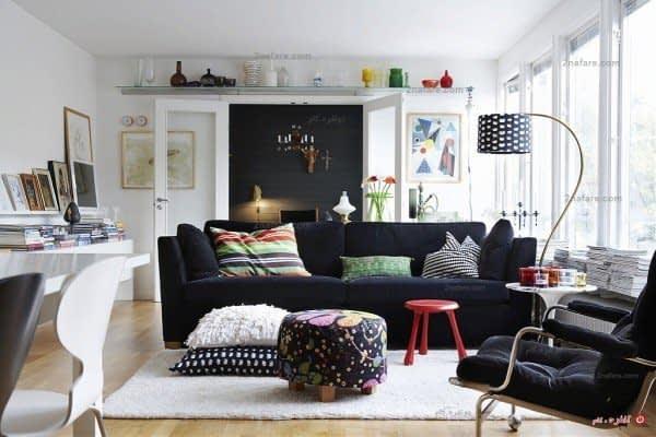 کاناپه راحتی در دکوری مدرن با سبک اسکاندیناوی