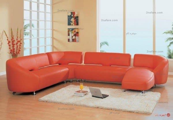 کاناپه راحتی و لوکس چرم نارنجی رنگ با مبل های بخش بندی شده