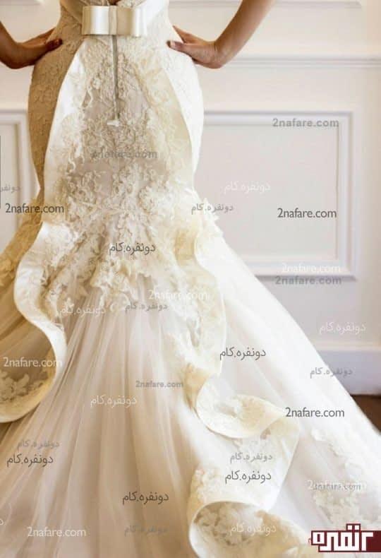 مدل پشت لباس عروس با برش ماهی