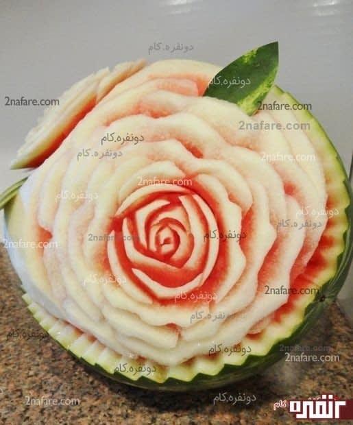 برش هندوانه به شکل رز