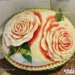 آموزش میوه آرایی هندوانه به شکل رز