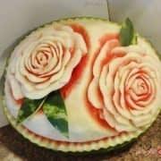 تزیین هندوانه به شکل رز