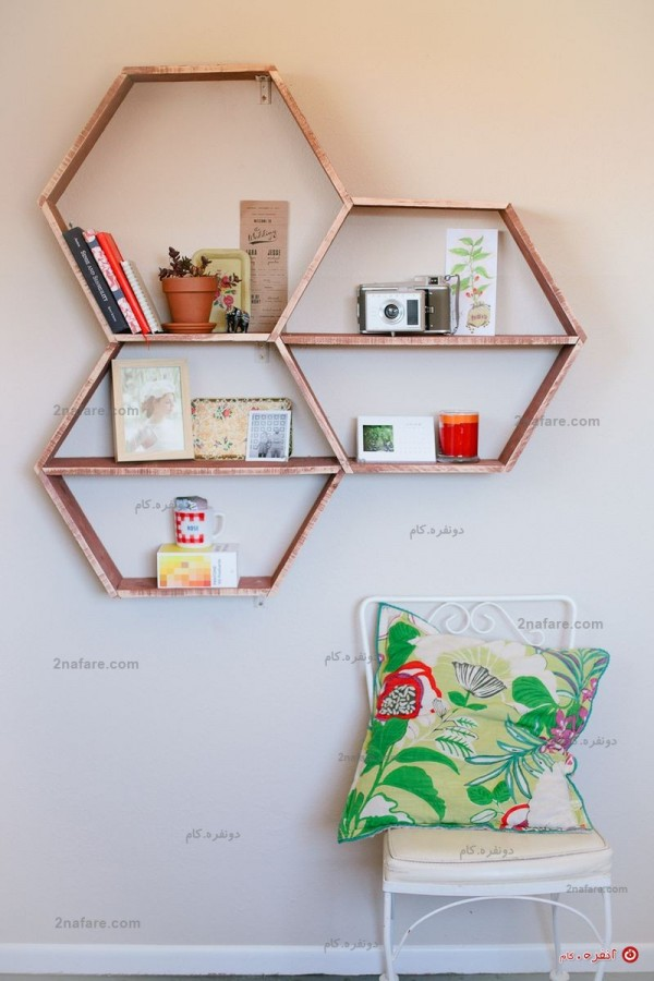 قفسه دکوری شش ضلعی