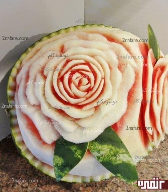 هندوانه شب یلدا به شکل رز