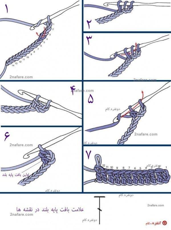 آموزش بافت پایه بلند در قلاب بافی