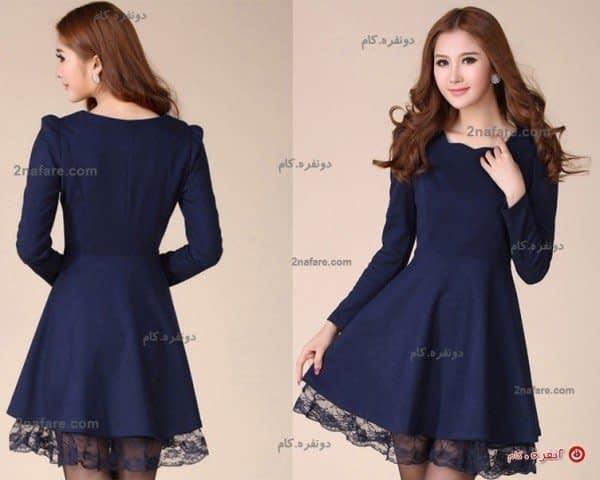 مدل یقه ایستاده کت پیراهن مجلسی دخترانه کره ای