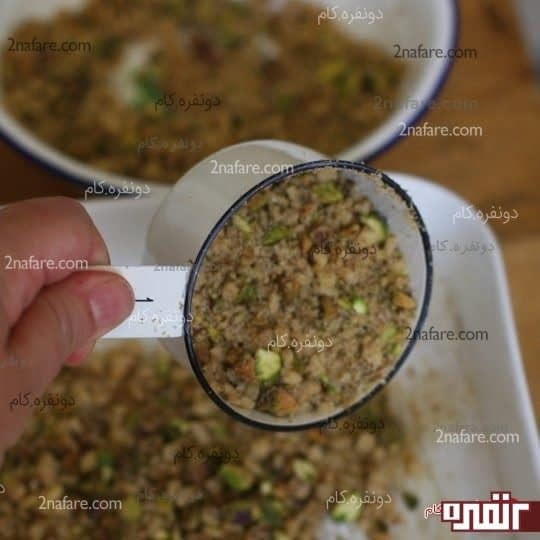 مخلوط گردو و پسته رو مجددا روش بریزید