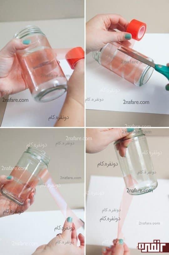مراحل تزیین شیشه مربا برای ساخت جا شمعی