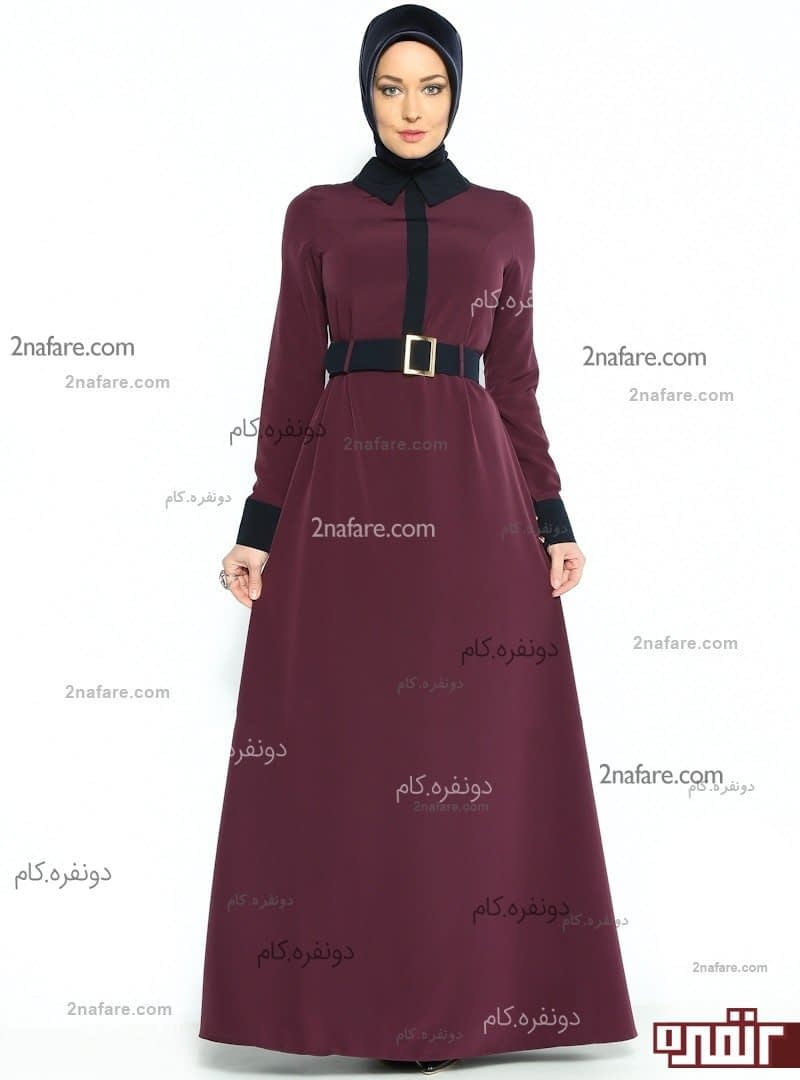 لباس عروس استین سه ربع Kemerli Elbise - Mürdüm - Zernişan Tesettür Modeli, Fiyatı