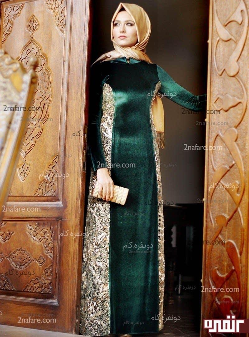 عکس لباس مجلسی مخمل بلند