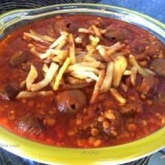 خورشت قیمه با گوشت شتر مرغ