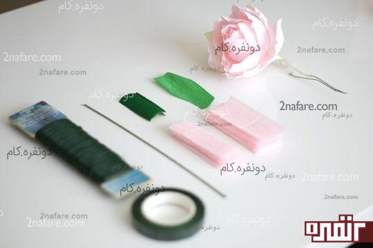 لوازم مورد نیاز گل رز با کاغذ کشی