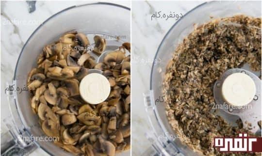 پختن و خرد کردن قارچ ها