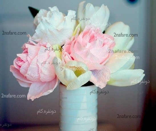گل رز با کاغذ کشی