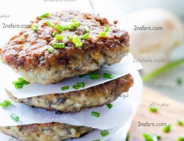 طرز تهیه کتلت مرغ و قارچ