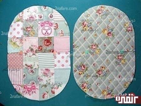 دو پارچه رو یکی برای داخل کیف و یکی برای خارج کیف از روی الگو برش بزنید.