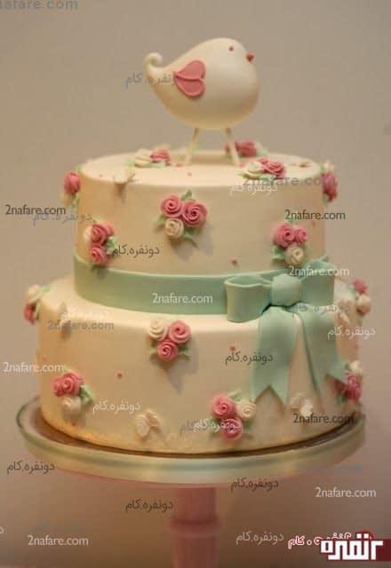 کیک تولد دو طبقه با فوندانت