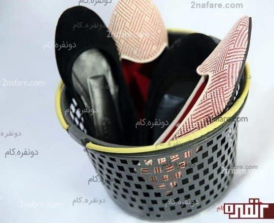 استفاده از سبد برای نگهداری کفش ها