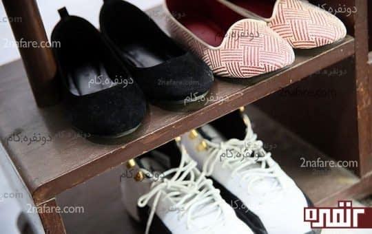 استفاده از کمدها و قفسه های کوچک و قدیمی برای نظم دادن به کفش ها