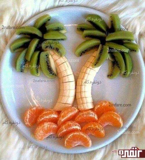 بشقاب میوه به شکل درختان نخل